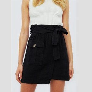 Zara paperbag waist belted wrap skirt black, XS